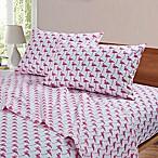 By The Seashore Flamingos Watercolor King Sheet Set in Pink