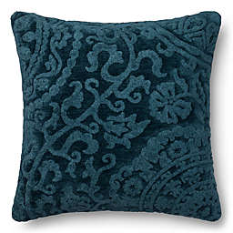Loloi Dr. Gandhis Chenille Scroll 22-Inch Square Throw Pillow in Smoke