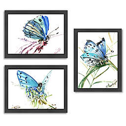 Americanflat Butterfly Blue Collection Wood-Framed Wall Art