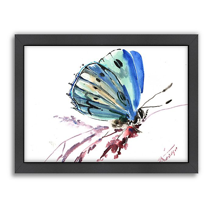 Alternate image 1 for Americanflat Butterfly Blue Wood-Framed Wall Art