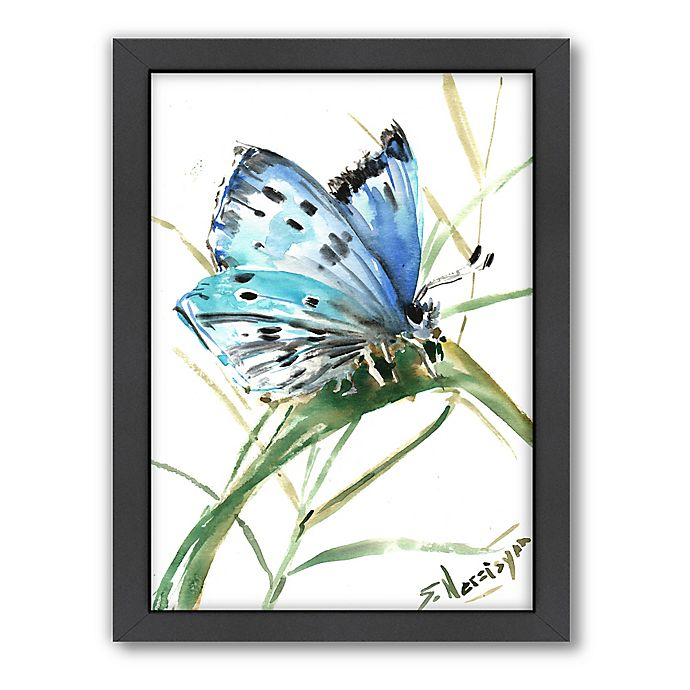 Alternate image 1 for Americanflat Butterfly Blue 3 Wood-Framed Wall Art