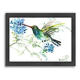 Suren Nersisyan Hummingbird with Blue Flowers Wall Art