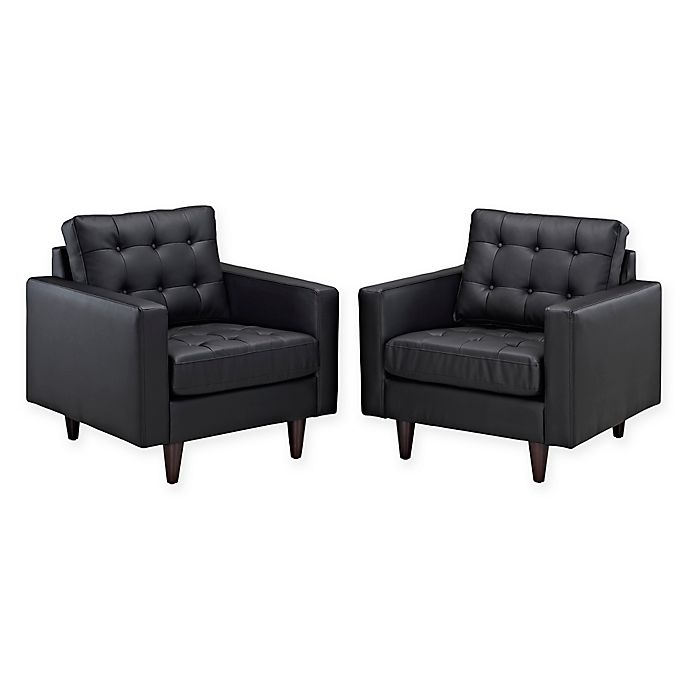 Alternate image 1 for Modway Empress Leather 2-Piece Armchair Set