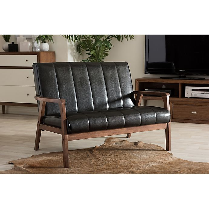 Alternate image 1 for Baxton Studio Nikko Faux Leather 2-Seater Loveseat in Black