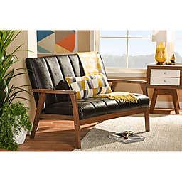 Baxton Studio Nikko Faux Leather 2-Seater Loveseat