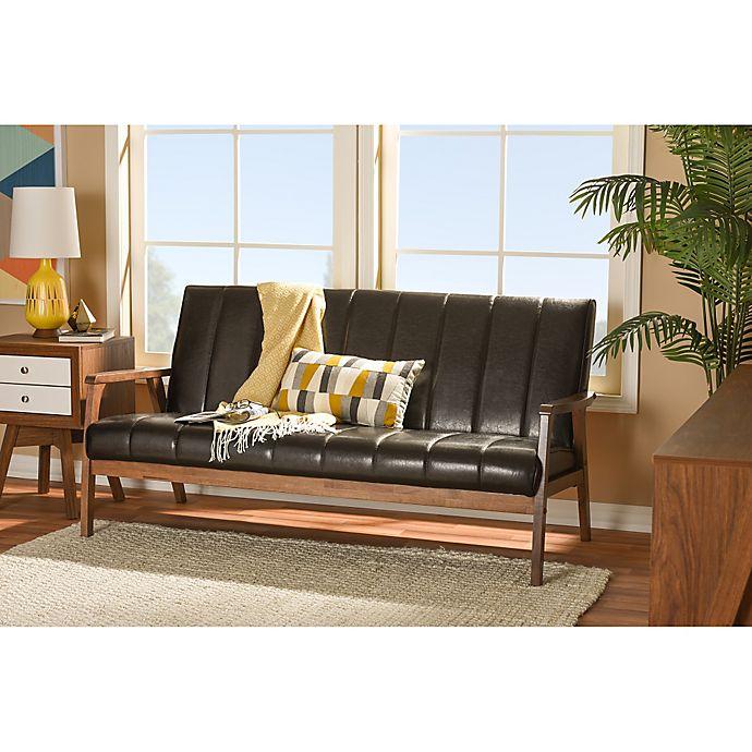 Alternate image 1 for Baxton Studio Nikko Faux Leather 3-Seater Sofa