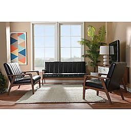Baxton Studio Nikko Loveseat, Sofa, and Chair Collection