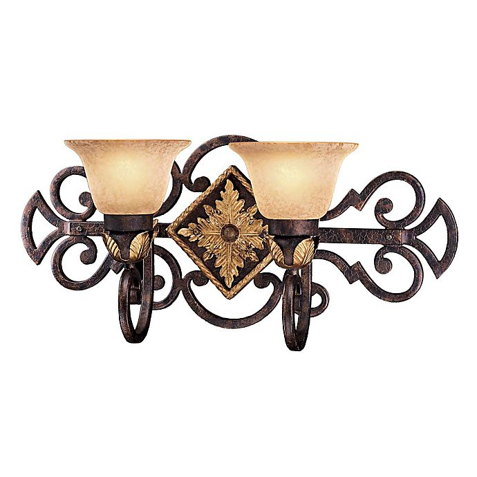 Alternate image 1 for Metropolitan® Lighting Zaragoza™ Collection 2-Light Bath Wall Mount Light in Golden Bronze