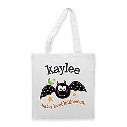 """""""Batty Bout Halloween"""" Trick-Or-Treat Bag in White"""