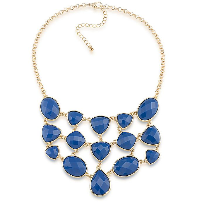 Alternate image 1 for 1st & Gorgeous Modern Colors Goldtone Faceted Cabochon Bib Necklace in Medium Blue