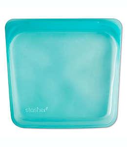 Bolsa reutilizable para alimentos Stasher de silicón, 443.6 mL en aqua