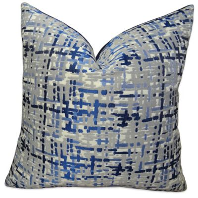 Plutus Abstract Plaid Square Handmade Throw Pillow Collection In Navy Grey Bed Bath Beyond