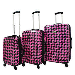 Chariot Bird Houndstooth Spinner Suitcase Collection in Fuchsia