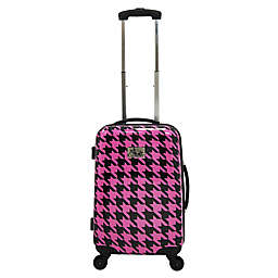 Chariot Bird Houndstooth Carry On Spinner Suitcase in Fuchsia