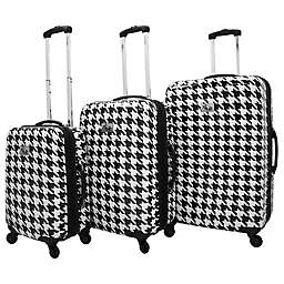 Chariot Bird Houndstooth Spinner Suitcase Collection in White Butterfly