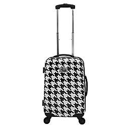Chariot Bird Houndstooth Carry On Spinner Suitcase in White Butterfly