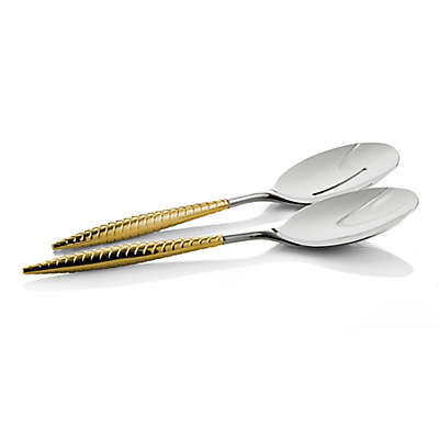 Nambe 2-Piece Braided Serving Spoons in Gold