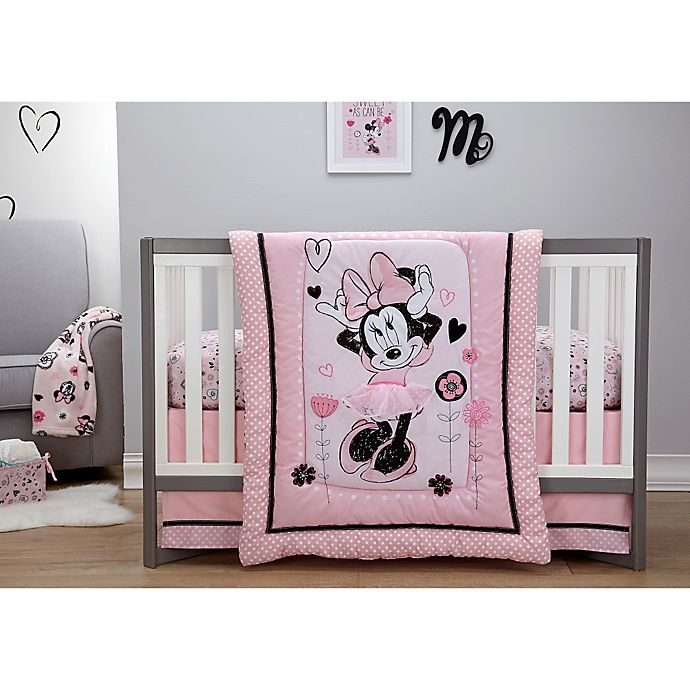 Alternate image 1 for Disney® Minnie Mouse Hello Gorgeous 3-Piece Crib Bedding Set