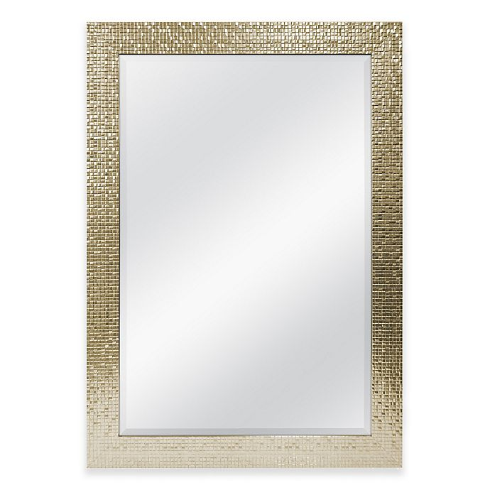 30-Inch x 42-Inch Large Mirror in Tile Champagne | Bed Bath and ...
