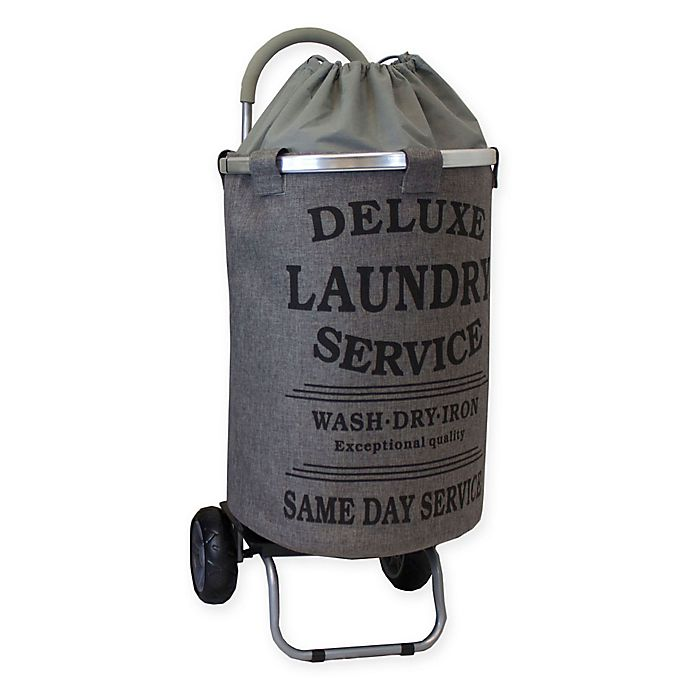 Alternate image 1 for Trolley Dolly Collapsible Aluminum Laundry Cart with Removable Liner in Grey