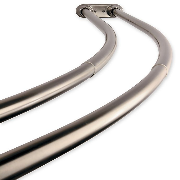Alternate image 1 for Kingston Brass Hotel Adjustable Double Curved Shower Curtain Rod in Satin Nickel Finish