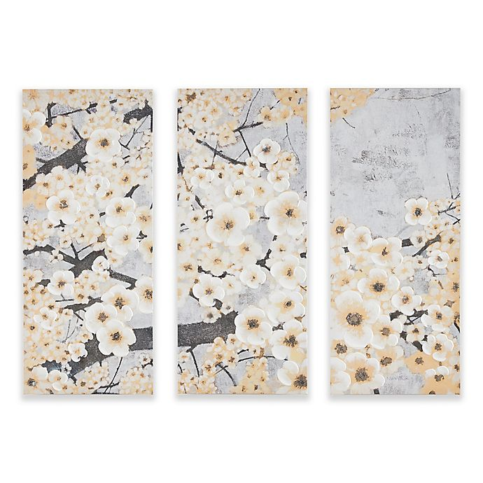 Alternate image 1 for Madison Park Gleeful Blossoms Printed Canvas with Hand Embellishment Wall Art in Yellow (Set of 3)