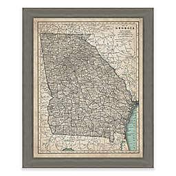 Framed Giclée Map of Georgia Canvas Wall Art