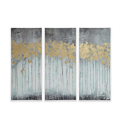 Madison Park Forest Gel Coat Canvas With Gold Foil Embellishment Wall Art In Grey Set