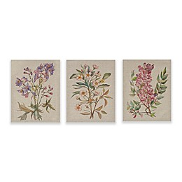 Madison Park Linen Botanicals Printed Linen Canvas Wall Art (Set of 3)