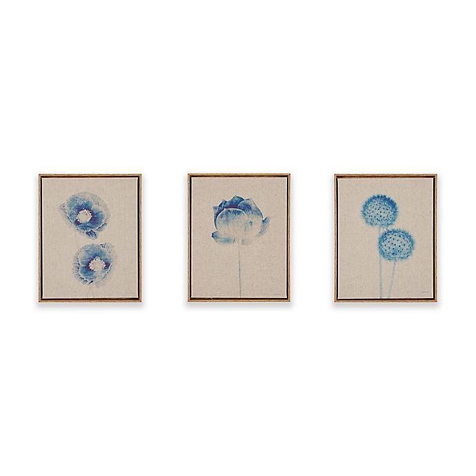 Alternate image 1 for Madison Park Blue Print Botanicals Framed Printed Canvas on Linen Wall Art in Blue (Set of 3)