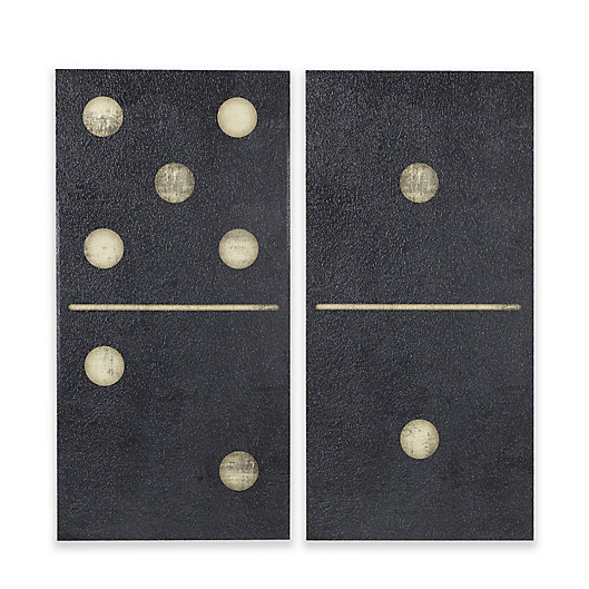 Alternate image 1 for INK+IVY Black Dominos 18-Inch x 36-Inch Gel Coat Canvas Wall Art (Set of 2)