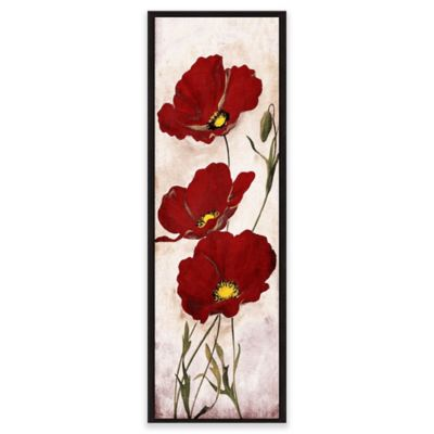 Red Look Floral Canvas Framed Wall Art Bed Bath Beyond