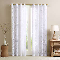 Madison Park Averil Sheer Bird Grommet Top Window Curtain Panel in White