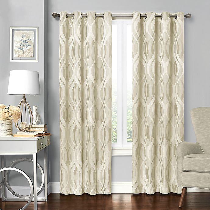 Alternate image 1 for Solar Shield® Balencia 95-Inch Grommet Room Darkening Window Curtain Panel in Ivory