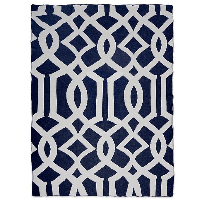 Alternate image 1 for Sleeping Partners Interlock Knit Throw Blanket in Navy