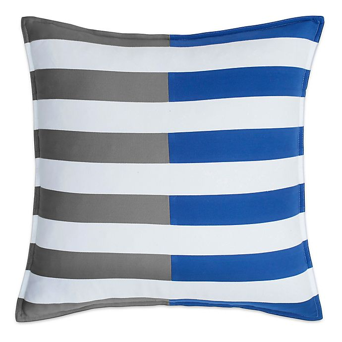 Alternate image 1 for Southern Tide® Chino Americana Stripe Square Throw Pillow in Grey/Blue