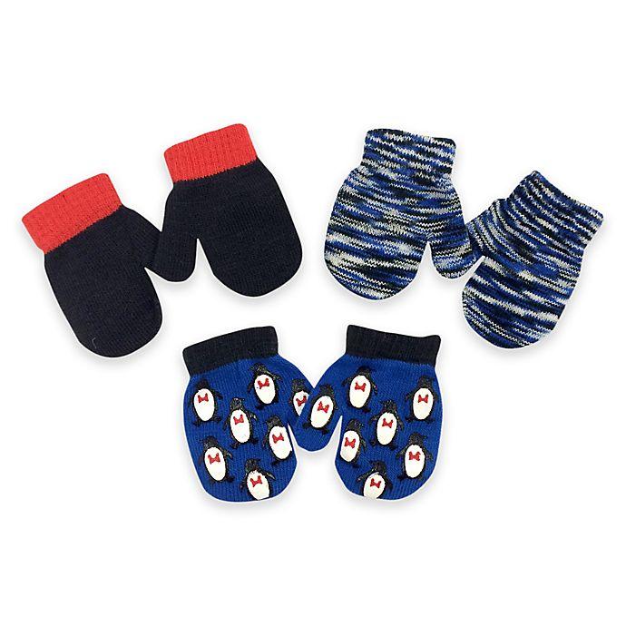 Alternate image 1 for Toby™ Infant 3-Pack Penguin Gripper Mittens