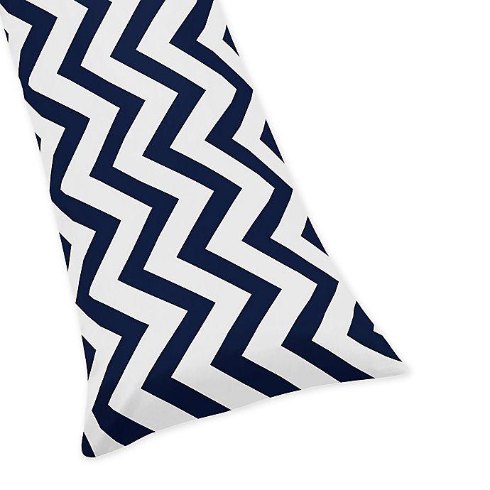 Alternate image 1 for Sweet Jojo Designs Chevron Body Pillowcase in Navy/White