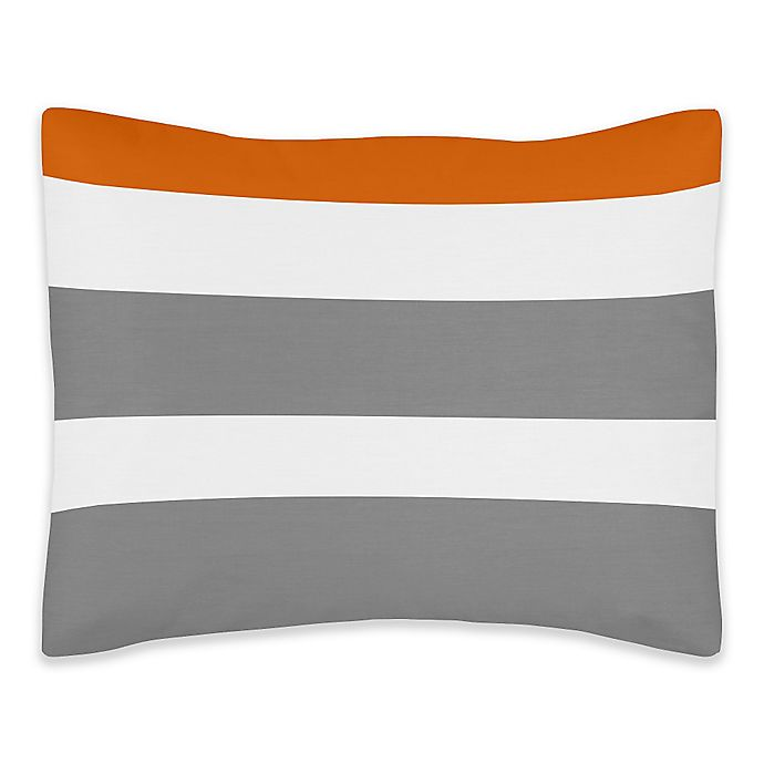 Alternate image 1 for Sweet Jojo Designs Grey and Orange Stripe Standard Pillow Sham