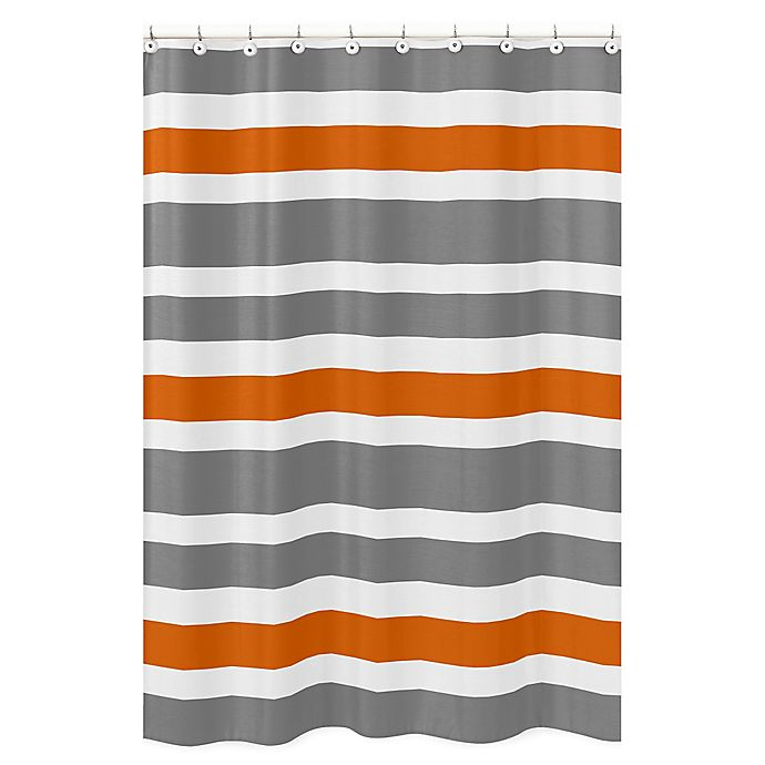 Sweet Jojo Designs Grey And Orange Stripe Shower Curtain