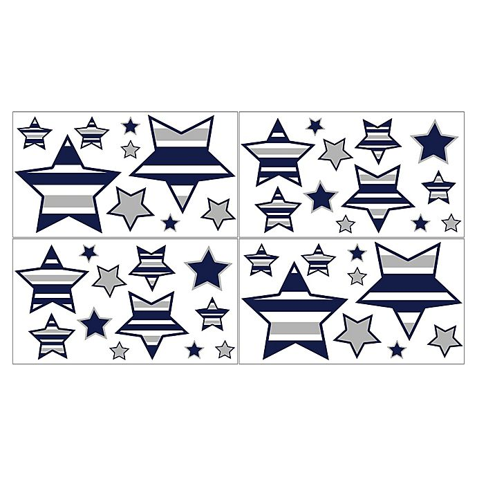 Alternate image 1 for Sweet Jojo Designs Navy and Grey Stripe Star Wall Deals