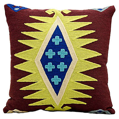 Mina Victory Wool Chain Stitch Square Throw Pillow in Burgundy