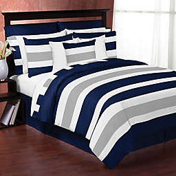 Sweet Jojo Designs Navy and Grey Stripe Bedding Collection