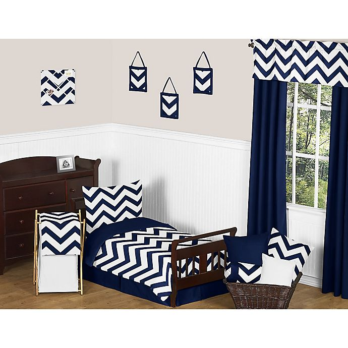 Sweet Jojo Designs Navy And White Chevron Bedding Collection Bed