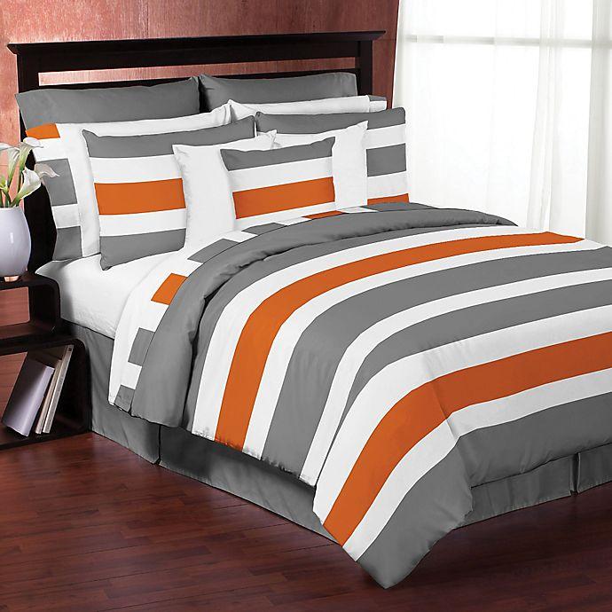 Alternate image 1 for Sweet Jojo Designs Grey and Orange Stripe Bedding Collection