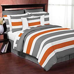 Sweet Jojo Designs Grey and Orange Stripe Bedding Collection