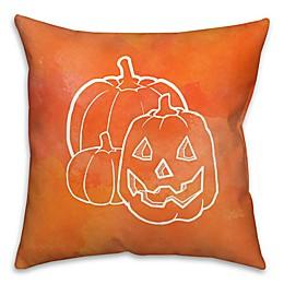 Halloween Watercolor Jack-O-Lantern Throw Pillow