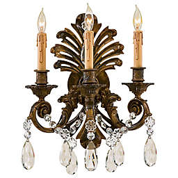 Metropolitan 3-Light Wall Sconce in Oxide Brass with Bohemian Crystals