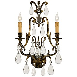 Metropolitan® Family Collection 2-Light Wall Sconce in Oxide Brass with Crystals