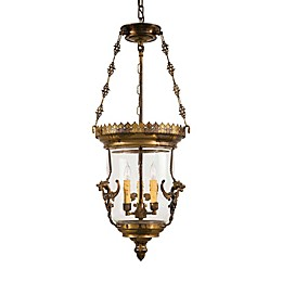 Metropolitan 3-Light Lantern in Bronze with Glass Shade